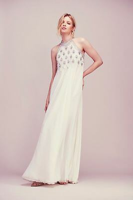 NEW FREE PEOPLE $750 IVORY CRYSTAL MAXI DRESS WEDDING GOWN BY CANDELA SZ XS