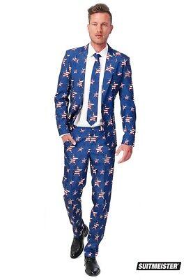 USA Stars and Stripes Amerika Anzug Suitmeister Slimline Economy 3-teilig ()