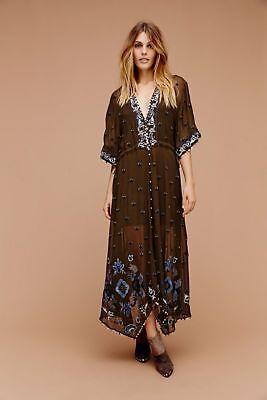 Free People Callipoe EmbellishedMaxi Dress Khaki XS BNWT RARE $298 💋🌹