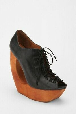 Jeffrey Campbell Black Rockin cutout Lace Up Wedges! Brand New! Size 41/8