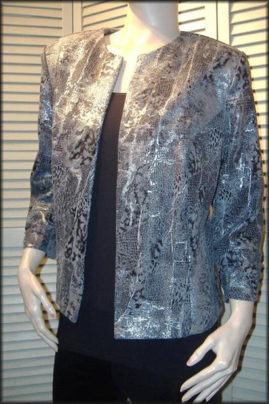 "Black Gray Silver Animal Print Open Style Jacket  (L) 44"" bust Made in the USA"