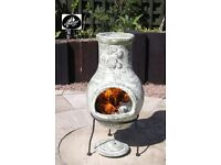 Gardeco Cactus Pale Green Clay Chimenea/Fire Pit - FREE DELIVERY