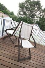 Antique Pair of Timber Folding Deck Chairs Vintage Armchairs Hurlstone Park Canterbury Area Preview
