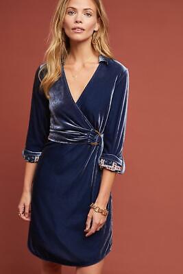 NEW ANTHROPOLOGIE BLUE VELVET SHIRTDRESS DRESS BY MAEVE SZ 8