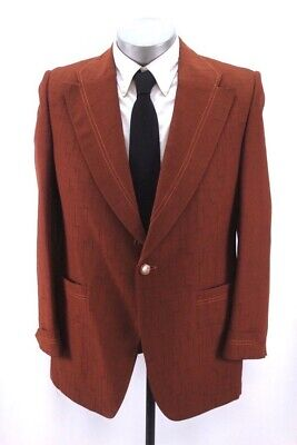 mens burnt orange VINTAGE 70s blazer jacket disco knit retro sport coat 40 R Mens Disco Jacket