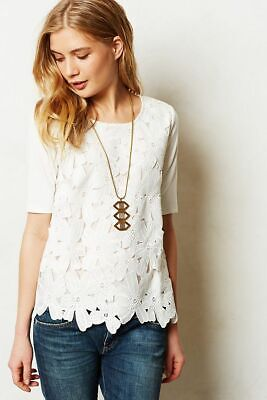 SUNDAY IN BROOKLYN Anthropologie Orlaya Floral Lace Top T-Shirt White size Small