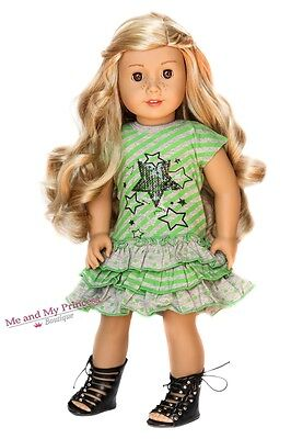 STAR STRIPED DRESS + BLACK SHOES 18 inch Outfit for American Girl Doll Clothes