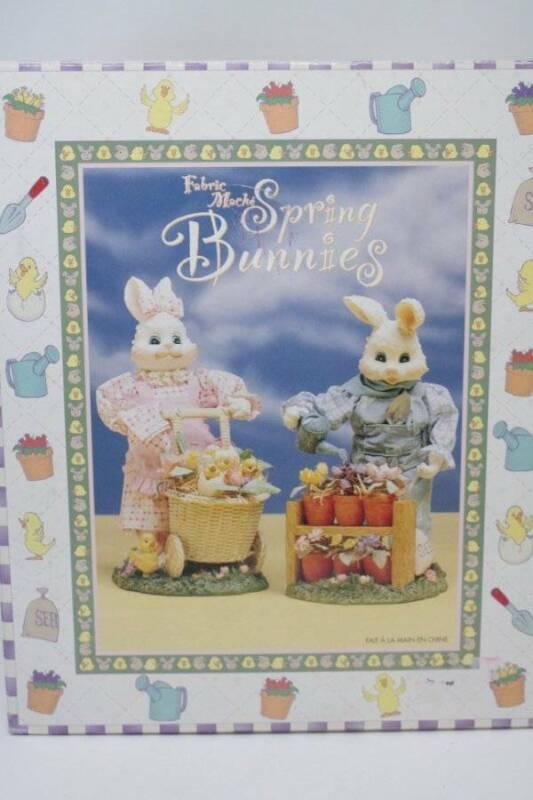 Fabric Mache Spring Bunnies Easter Decoration NIB Girl & Boy Bunny Figurines