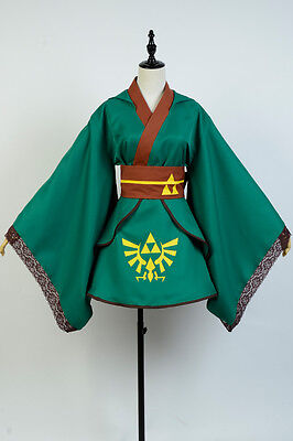 The Legend of Zelda Female Link Girl COSplay Costume Dress Outfit Robe Cape Gown - Link Girl Costume