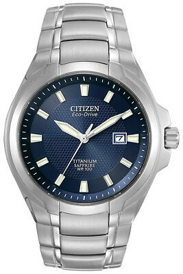 Citizen Eco-Drive Men's Blue Dial Titanium Bracelet 43mm Watch BM7170-53L