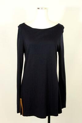 womens dark blue RALPH LAUREN tunic knit shirt top blouse faux suede wool MEDIUM Dark Blue Faux Suede