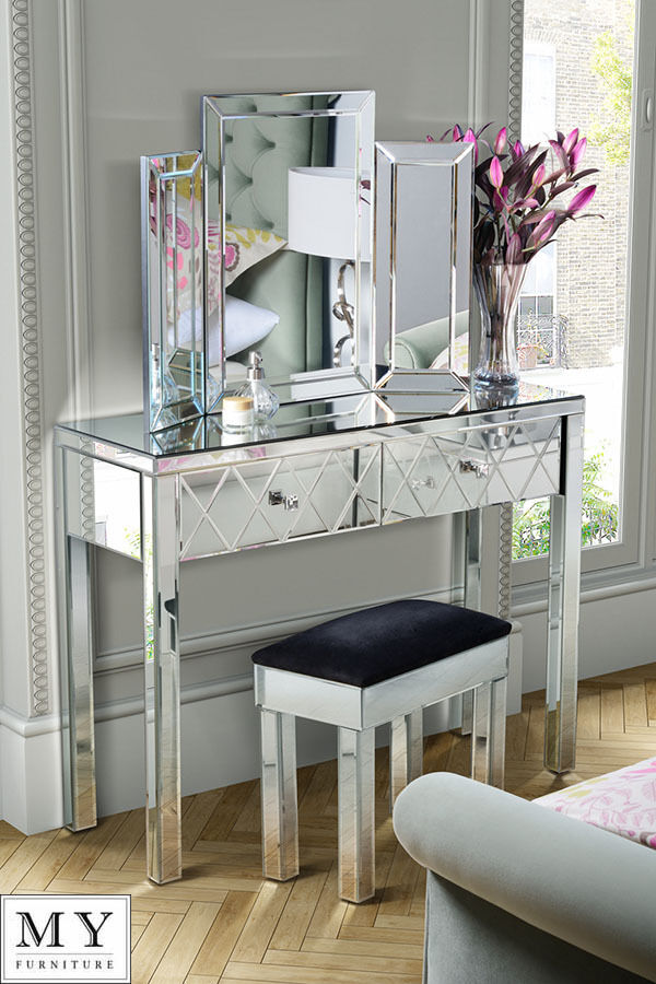 buy popular a4ea7 d2306 Details about 2 Drawer Mirrored Dressing Table Console, 4 Legs  (Knightsbridge range)
