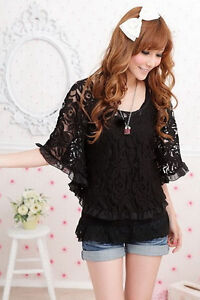 Sz XS-L Korea Women 2 PCS Lace Batwing Shirt Blouse Tank Top Vest Black & White