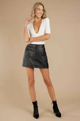 NWT FREE PEOPLE HIGH A LINE FAUX LEATHER VEGAN MINI SKIRT - XS - 0