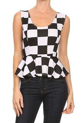 Black White Checkered Peplum Top Dressy Sleeveless Fitted - Black & White Checkered