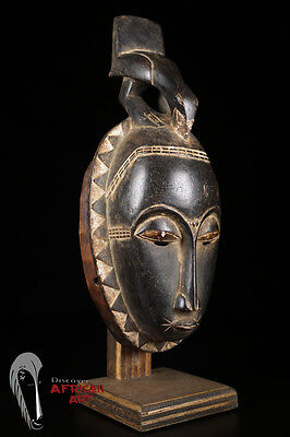 Discover African Art: Baule (Baoule) Portrait Mask on Custom Mount from Ivory Co