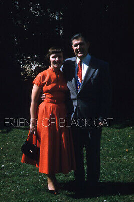 1950s Mens Suits & Sport Coats   50s Suits & Blazers Kodak Slide 1950s Red Border Kodachrome Pretty Woman in Red Dress Man in Suit $24.99 AT vintagedancer.com