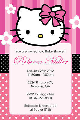 Hello Kitty Birthday Party Invitations - HELLO KITTY GIRL Birthday party or Baby Shower Custom Digital Invitation