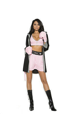 Female Boxer Costumes (Elegant Moments Prizefighter Boxer MMA Fighter Black & Pink Costume 4pc)