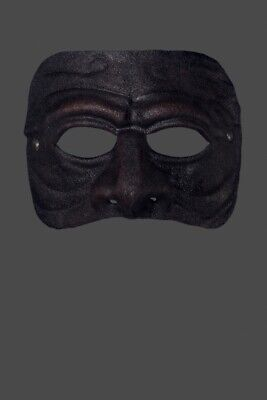 Venezianische Masken Männlich Akelei Schwarz Ledermaske - In Venedig Handgemacht ()