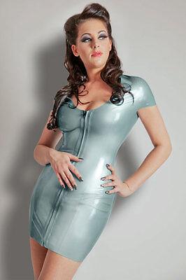 Latex Kleid Damen NEU Mini geklebt Kurzarm electric blau 36-46 kurz Preishit - Latex Damen Mini