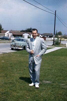 1950s Mens Suits & Sport Coats   50s Suits & Blazers Kodak Slide 1950s Red Border Kodachrome Man in Flashy Suit Grey Car Street $21.99 AT vintagedancer.com