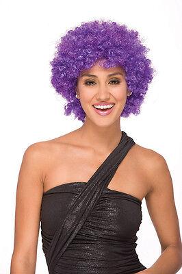 GLITTER AFRO Halloween 70's Disco costume wig - Hot Purple