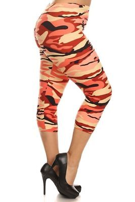 Neon Green Leggings (PLUS SIZE ONE SIZE CAMOUFLAGE CAPRI LEGGINGS NEON GREEN YELLOW PINK)