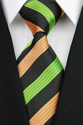 PRICED TO CLEAR! Mens Classic Two Stripe Silk Necktie Tie Black Green Orange