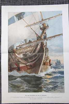 Kriegsschiff 17. Jahrhundert Segelschiff FARBDRUCK von 1913 Willy Stöwer