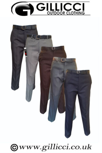 Mens Smart Casual Formal Work Office Straight Polyester Trousers Pants With Belt
