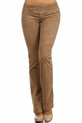 NWT Corduroy Boot-Cut stretch Low rise pants extended waist stitching -