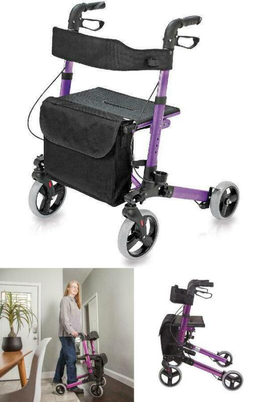 Rollator Walker with Seat Backrest Storage Bag Foldable Upri