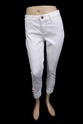 womens white TALBOTS flawless five-pocket jeans anchor buttons XS 2 PETITE (Five Button Petite Jeans)