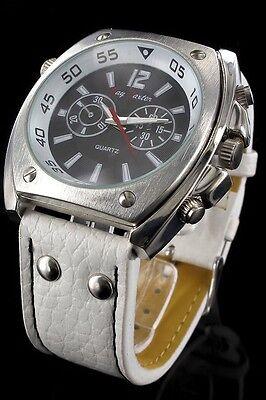 + Wristwatch °° HERREN-ARMBANDUHR mit weißem Lederarmband JB050916