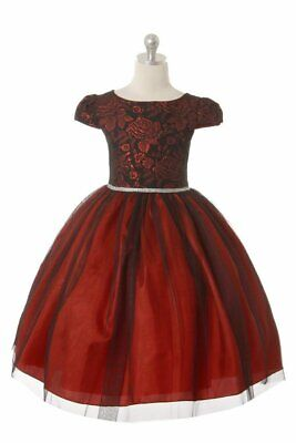 Red Black Floral Jacquard Flower Girls Dress Christmas Wedding Party Rhinestones Girls Red Rhinestone