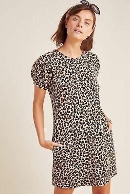 $158 NWT VELVET Graham Spencer ANTHROPOLOGIE Leopard Puff-Sleeve Jolene Dress XS