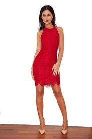 'Mialy' Red Lace Halterneck Dress by House of CB - RRP £115 !
