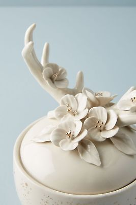 Anthropologie Candle ILLUME Deer FLORAL FAUNA Evergreen Flowers Antlers Gold NWT