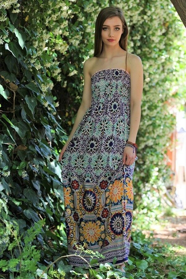 17ce2a3dfb3 Женское платье Angie Womens Tube Top Boho Maxi Dress smocked Strapless  floral geo print S M L