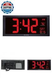 Large Digital Led Calendar Clock Indoor Temperature Thermometer Timer Desk Wall
