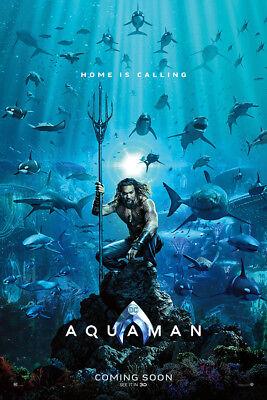 Aquaman Art Poster 48X32  36X24  2018 Movie Jason Momoa Print Silk