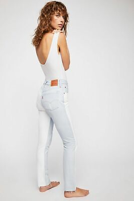 Levis 501 Skinny Womens High Rise Two Tone Blue White Denim Mom Jeans -