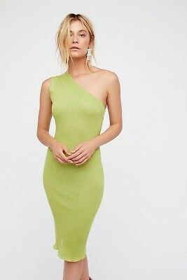 Free People Zeus Midi Dress Sz:!XS One Shoulder Green Form Fitting Stretch New for sale  Shipping to India