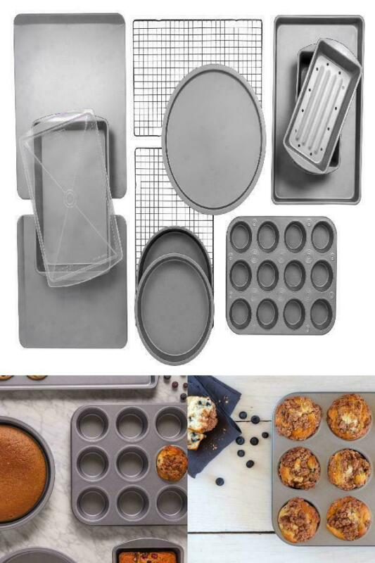 BakerEze 12-Piece Bakeware Set, Muffin Cookie & Pizza Pans
