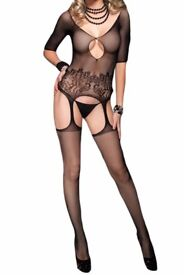Crotchless Fishnet Bodystocking Size: 10 to 18