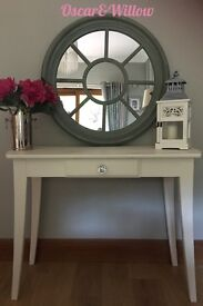 LARGE SOLID WOOD VINTAGE WHITE CONSOLE TABLE