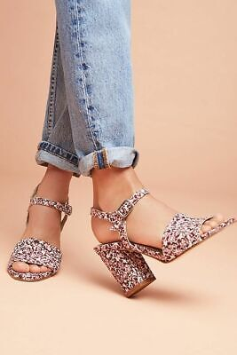 Anthropologie Ouigal Lexi Heels Flower Blossom Print Peep Sandals Size 38 New