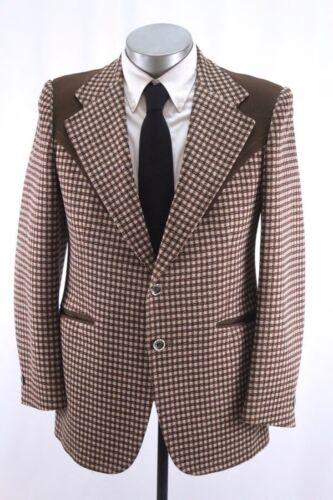 vintage 70s mens brown PRESTIGE WEST western blazer jacket sport coat retro 38 R