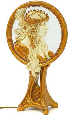 """JUGENDSTIL 1900►ORIENTAL LAMPE """"BYZANTINE"""" - HINTERGLAS LEUCHTE mit FRAUENRELIEF"""